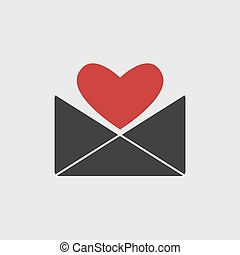 love letter icon with red heart isolated