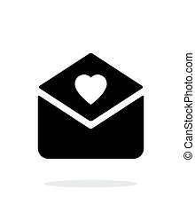 Love letter icon on white background.
