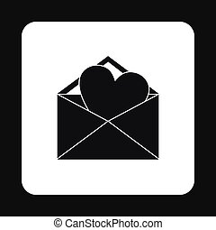 Love letter icon, simple style