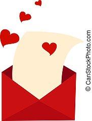 Love letter, illustration, vector on white background.
