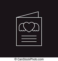 love letter line icon