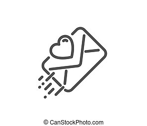 Love letter line icon. Heart mail sign. Vector