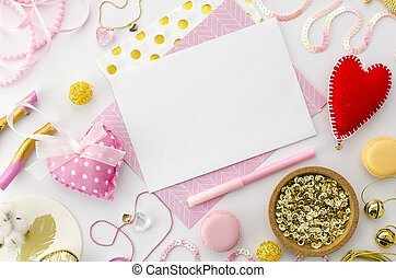 Love Letter Mock Up For Valentines Day On Pink Background. Valentine  Template Mockup. Flat