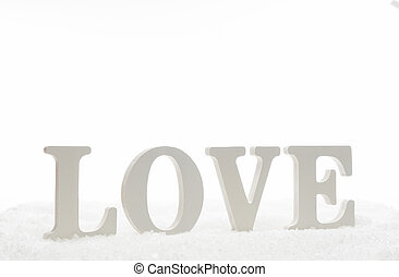 Love letter of wooden isolated on white