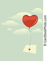 Envelope with heart flying high in the sky on a heart-shaped balloon