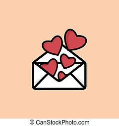 Love letter - Vector illustration of the love letter with...