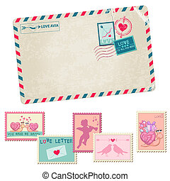 Love Letter - Vintage Postcard - with Love, Valentines, Wedding Stamps - in vector