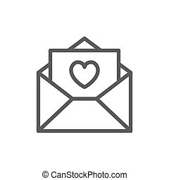 Love letter with heart, valentine day line icon.