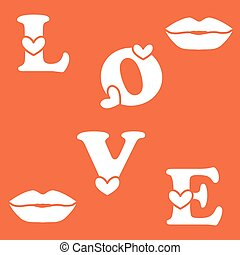 Love letter with hearts and a kisses. Valentine's