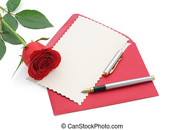 Love letter with rose