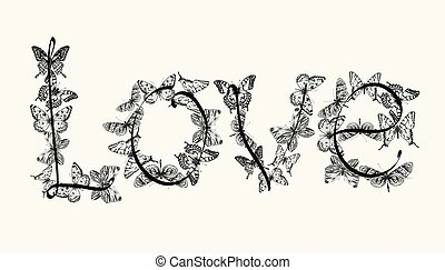 Love lettering design with butterflies. Hand drawing, vector illustration