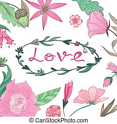 Love Lettering in Summer Floral Frame