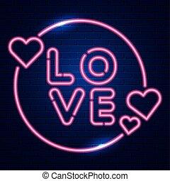 love lettering of neon light