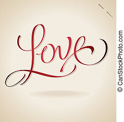 'love', lettering, (vector), mão