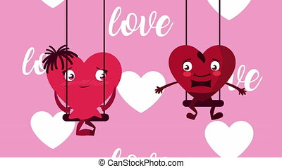 love lettering with hearts couple in swing animation