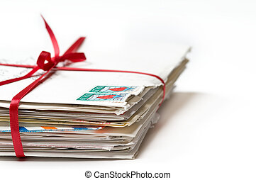 Love Letters tied with a Red Ribbon - Stack of Love Letters...