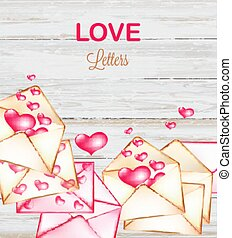 Love letters with hearts flying on wooden background