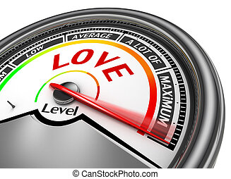Love level conceptual meter indicate maximum