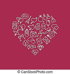 love line icons in heart