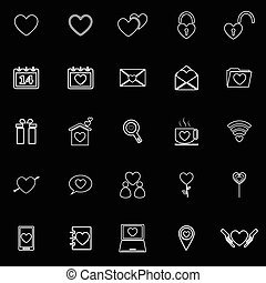 Love line icons on black background