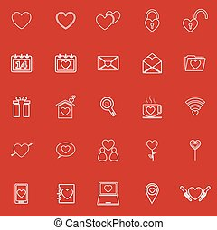 Love line icons on red background