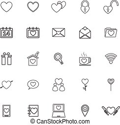 Love line icons on white background