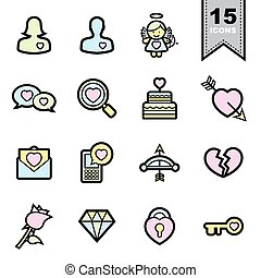 Love line icons set