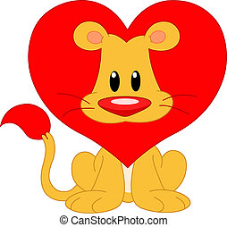 Love lion - Cute lion with a red heart shaped mane