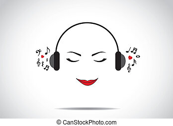love listening to music concept