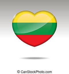 Love LITHUANIA symbol. Heart flag icon.