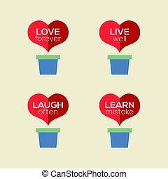 Love Live Laugh Learn Heart Plants Vector Illustration
