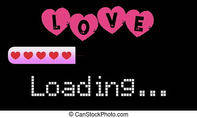 Love Loading Bar, Progress Bar For Valentine S Day, Marriage, Engagement, Declaration Of Love - Black Background - 4K Ultra