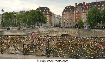 """""""love lock bridges near notre dame de paris, france"""""""