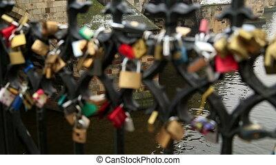 Love locks on Prague bridge