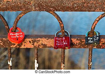 Love Locks on the Rusty Bridge across Volga River near Samara, R