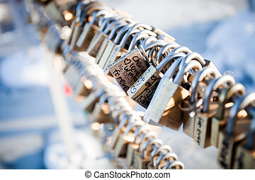 Love locks on top of Mount Moiwa, Japan