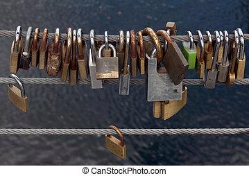 Love locks on  wire
