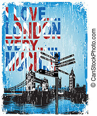 love london - illustration for shirt printed and poster