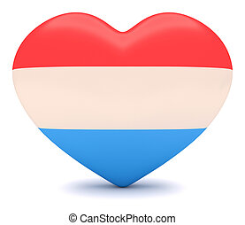 Luxembourgian Flag Heart, 3d illustration - Love Luxembourg...