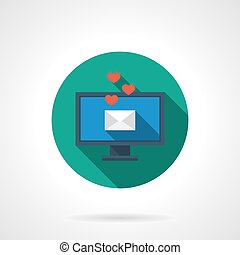 Love mail colorful round flat vector icon