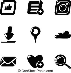 Love mail icons set, simple style