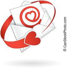 Love Mail Illustration - Open envelope with red love heart...