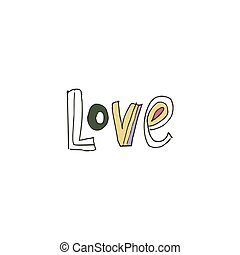 love., main, text., dessiné