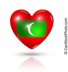 Love Maldives, heart flag icon