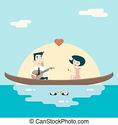 Love Male and Female Gondola Cartoon Characters Valentine's Day Icons Greeting Card Concept Stylish Background Flat Design Template Vector Illustration