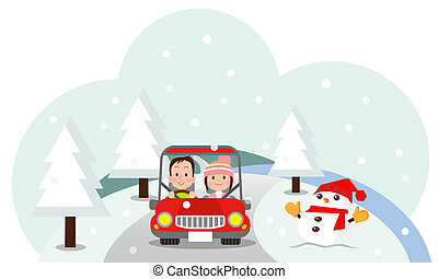love man and woman riding in a car