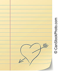 Blank lined page with hand drawn heart %u2013 love message.