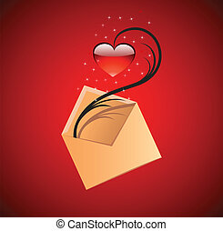 Love message concept illustration. Vector red heart