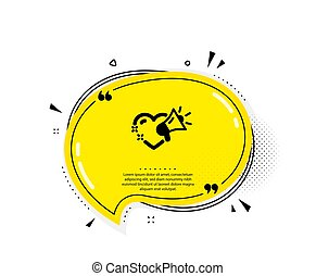 Love message icon. Heart and megaphone sign. Vector