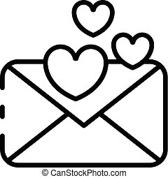 Love message icon, outline style